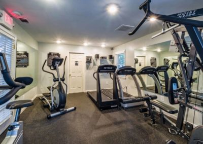 Fully equipped fitness center at Macungie, PA apartment complex