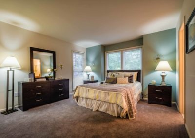 Furnished master bedroom at Brookfield apartments